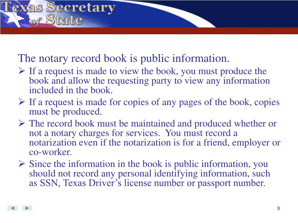 The notary record book is public information.