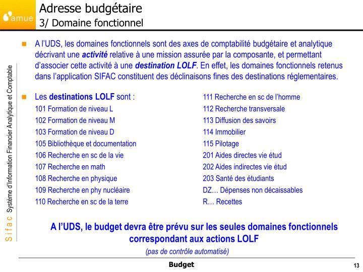 Adresse budgétaire