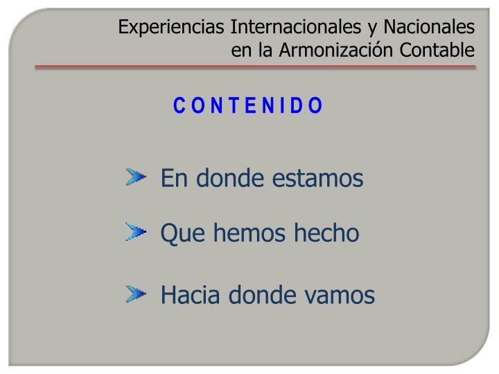 Experiencias Internacionales y Nacionales en la Armonización Contable