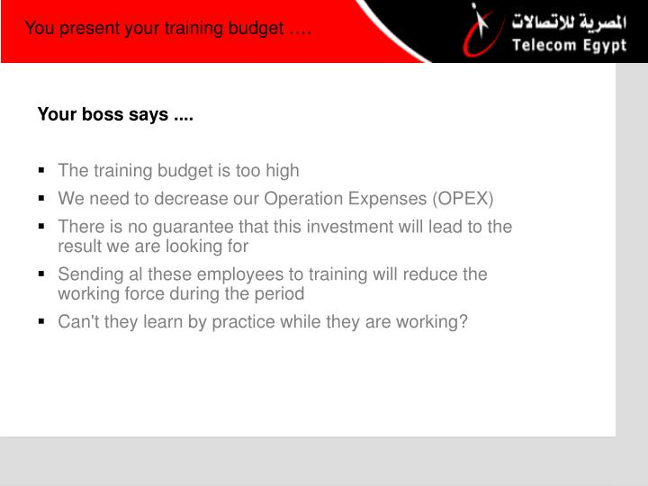 You present your training budget ….