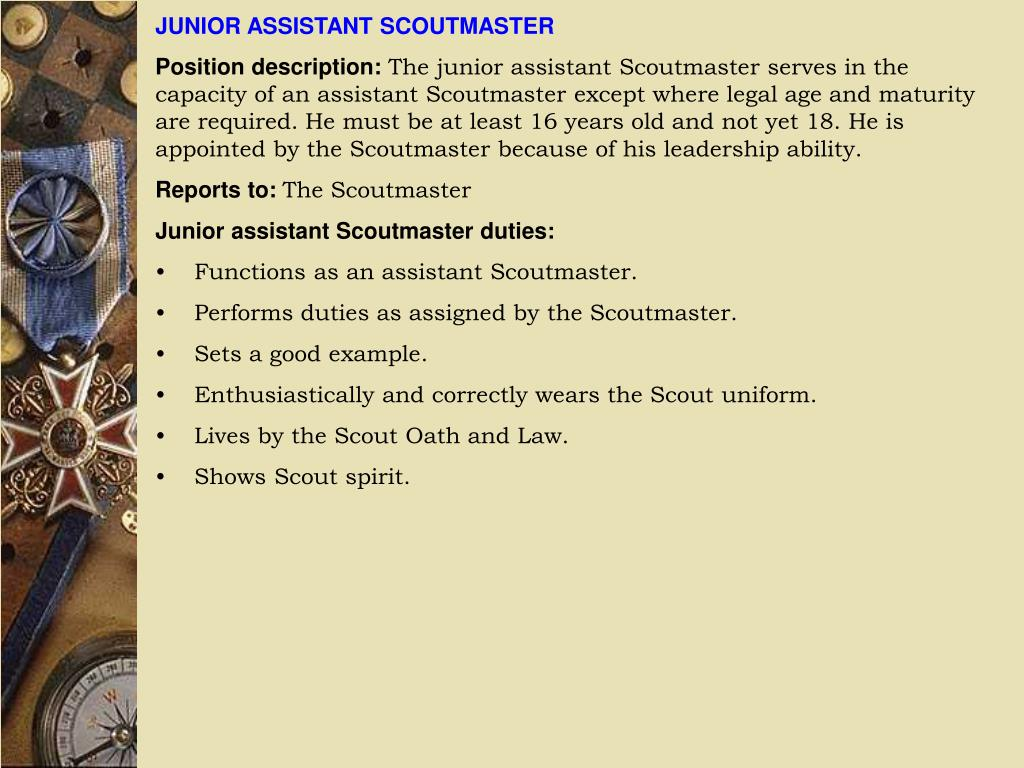 JUNIOR ASSISTANT SCOUTMASTER