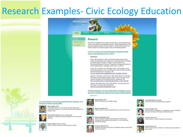 Research Examples- Civic Ecology Education