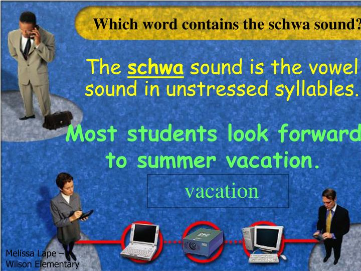 Which word contains the schwa sound?
