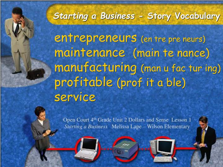 Starting a business story vocabulary