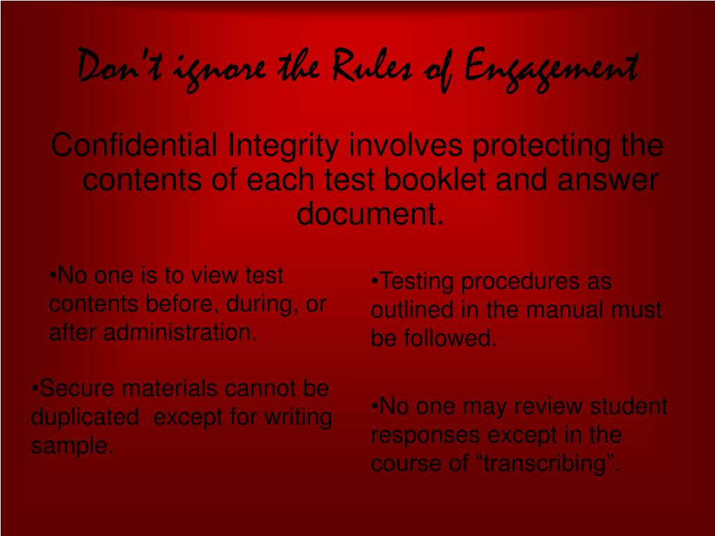 Don't ignore the Rules of Engagement