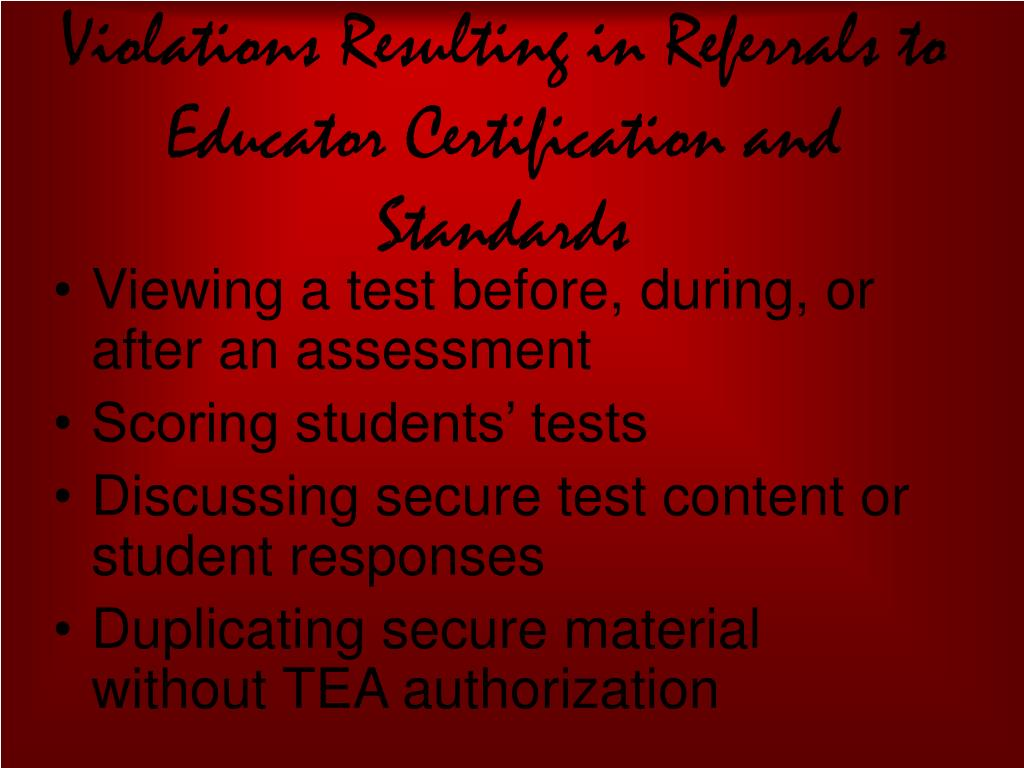 Violations Resulting in Referrals to Educator Certification and Standards