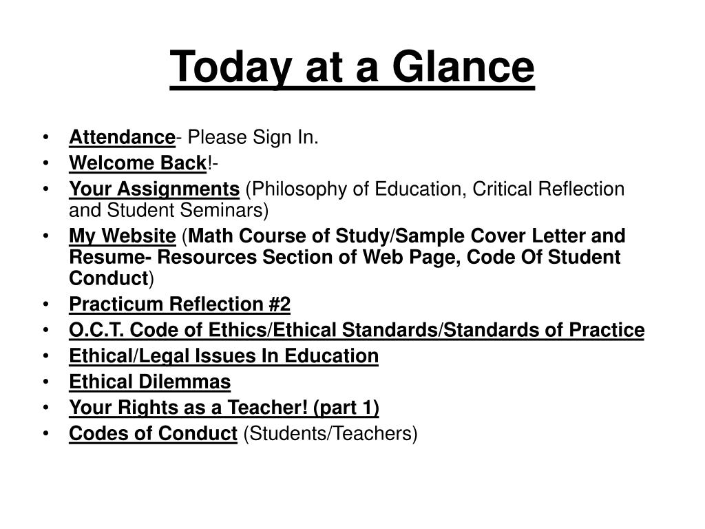 Today at a Glance