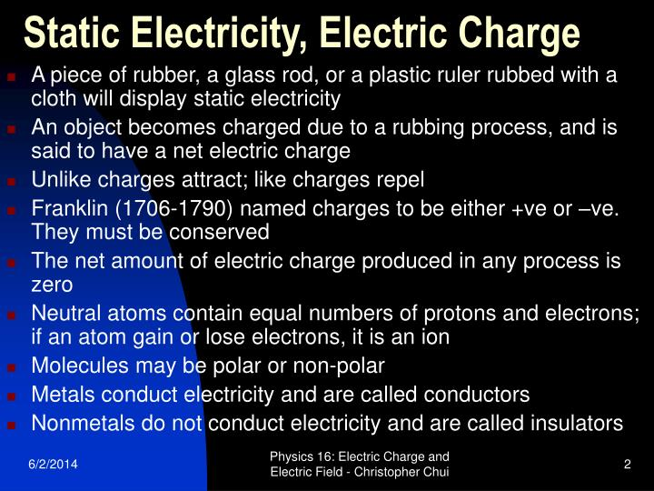 Static electricity electric charge