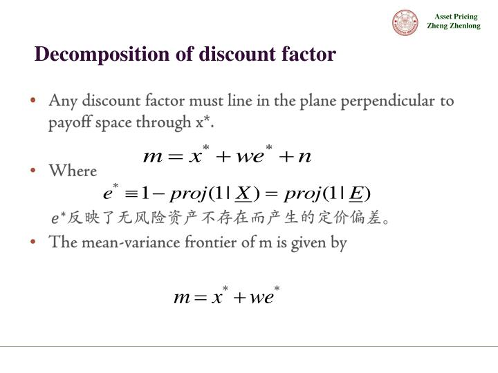 Decomposition of discount factor