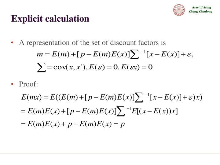 Explicit calculation