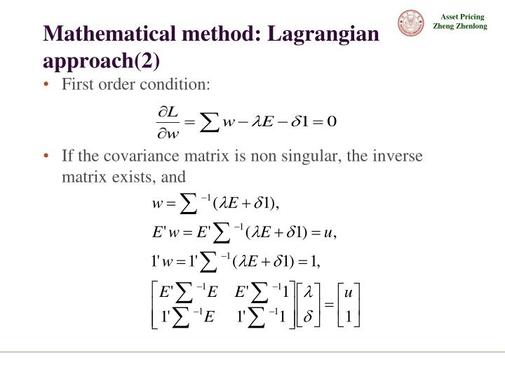 Mathematical method: Lagrangian approach(2)