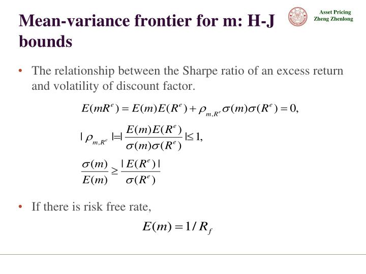 Mean-variance frontier for m: H-J bounds