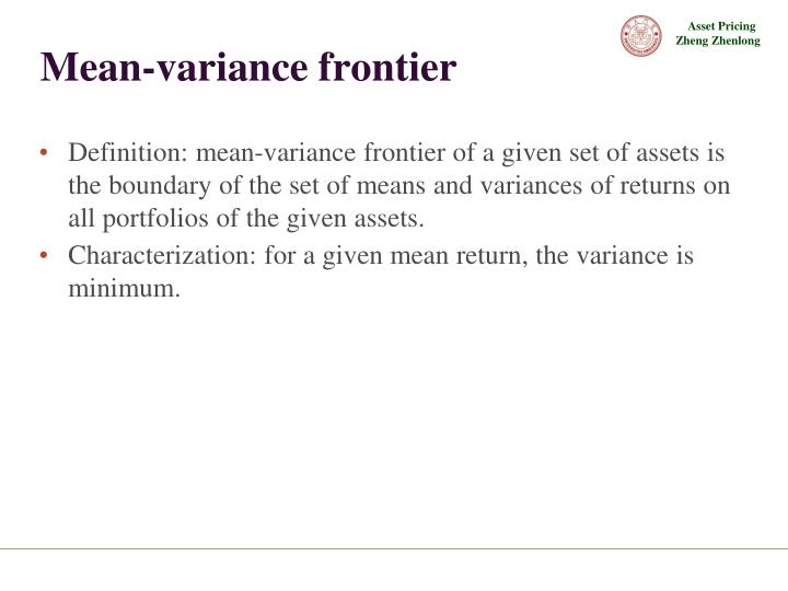 Mean-variance frontier