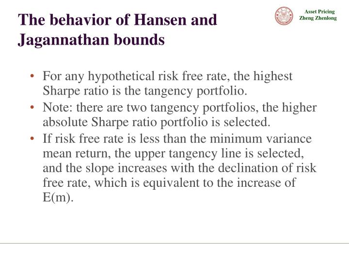 The behavior of Hansen and Jagannathan bounds