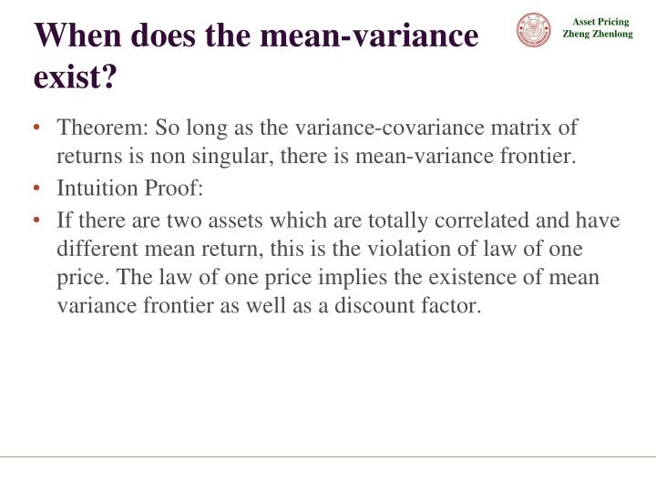When does the mean-variance  exist?