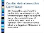 canadian medical association code of ethics