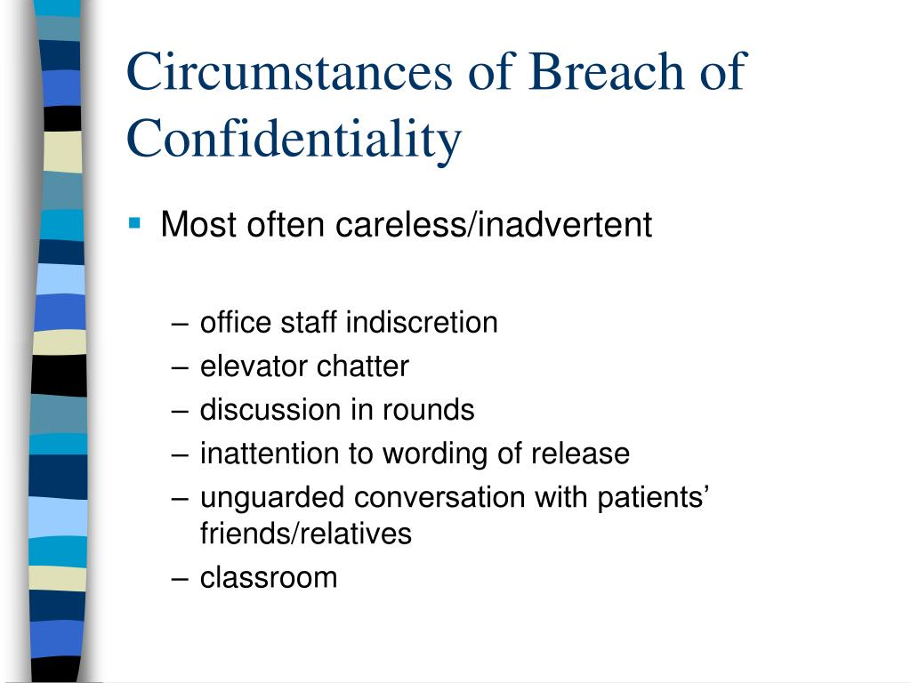 Circumstances of Breach of Confidentiality