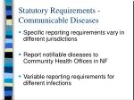 statutory requirements communicable diseases