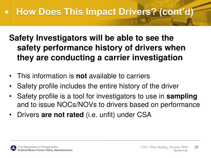 How Does This Impact Drivers? (cont'd)