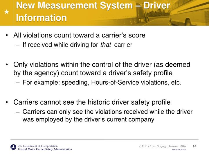 New Measurement System – Driver Information