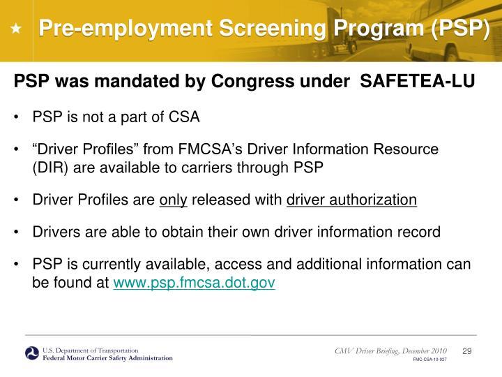Pre-employment Screening Program (PSP)