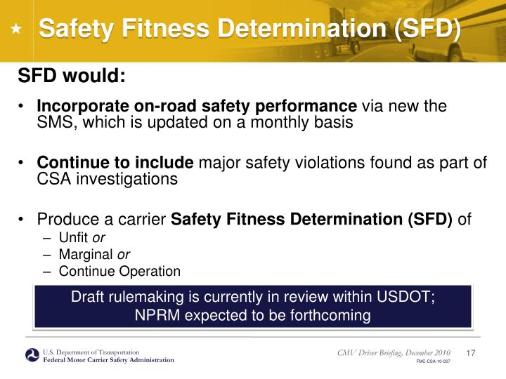 Safety Fitness Determination (SFD)