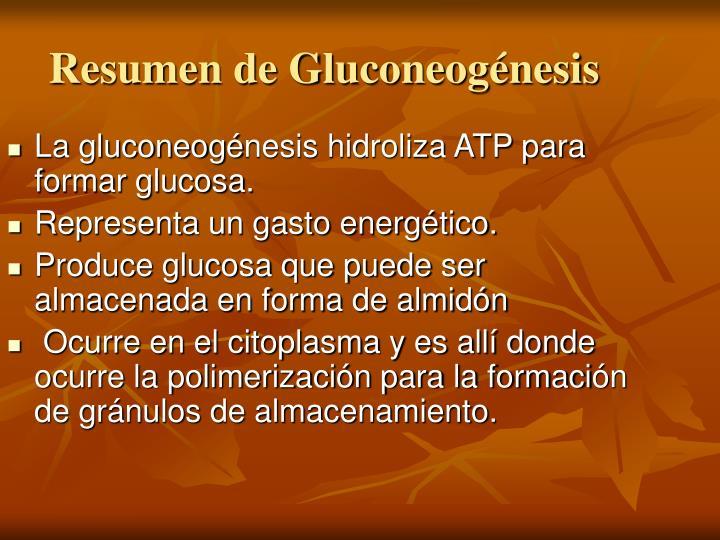 Resumen de Gluconeogénesis