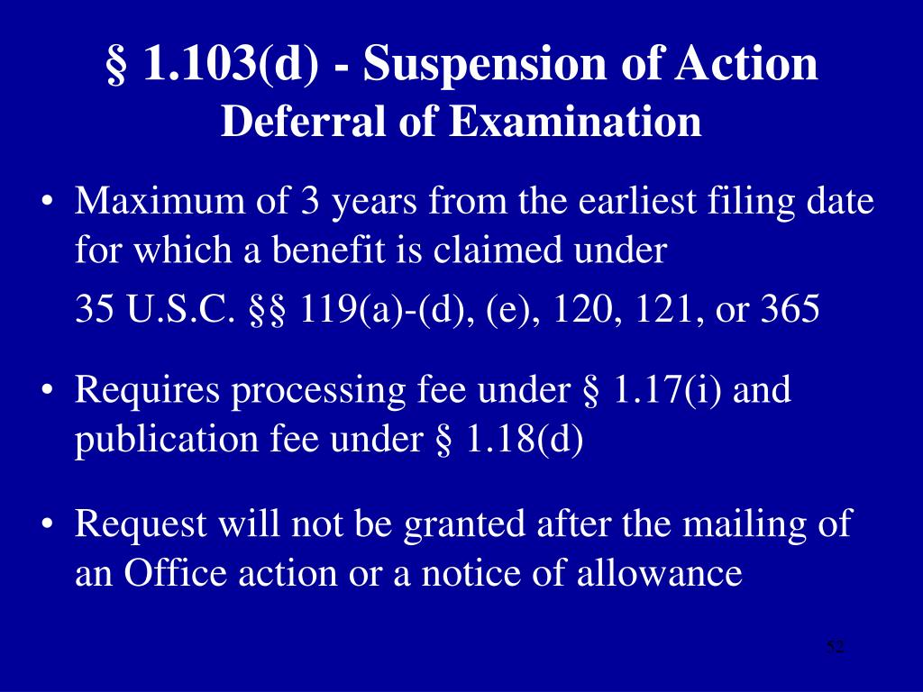 § 1.103(d) - Suspension of Action