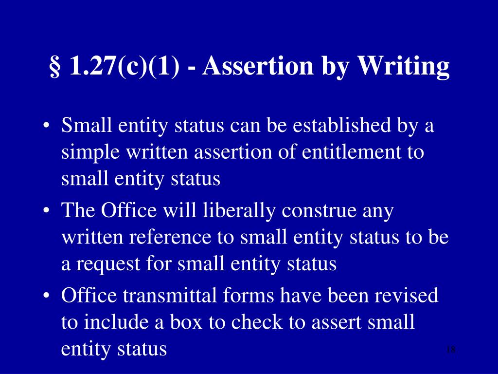 § 1.27(c)(1) - Assertion by Writing
