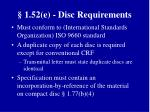 1 52 e disc requirements