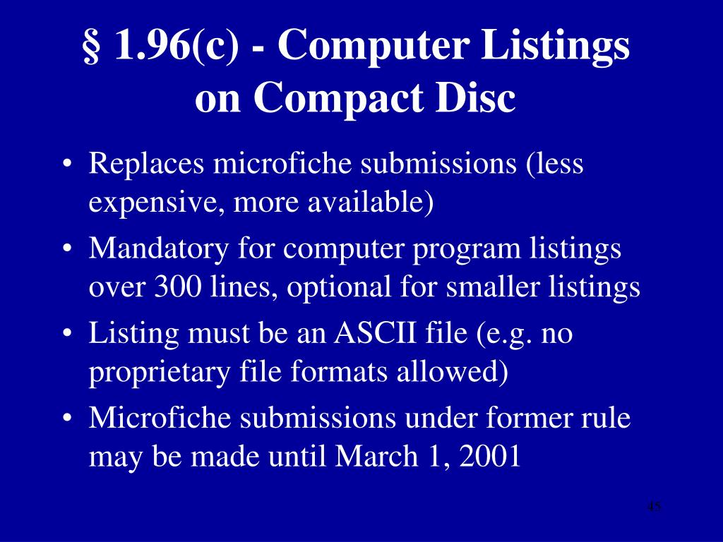 § 1.96(c) - Computer Listings on Compact Disc