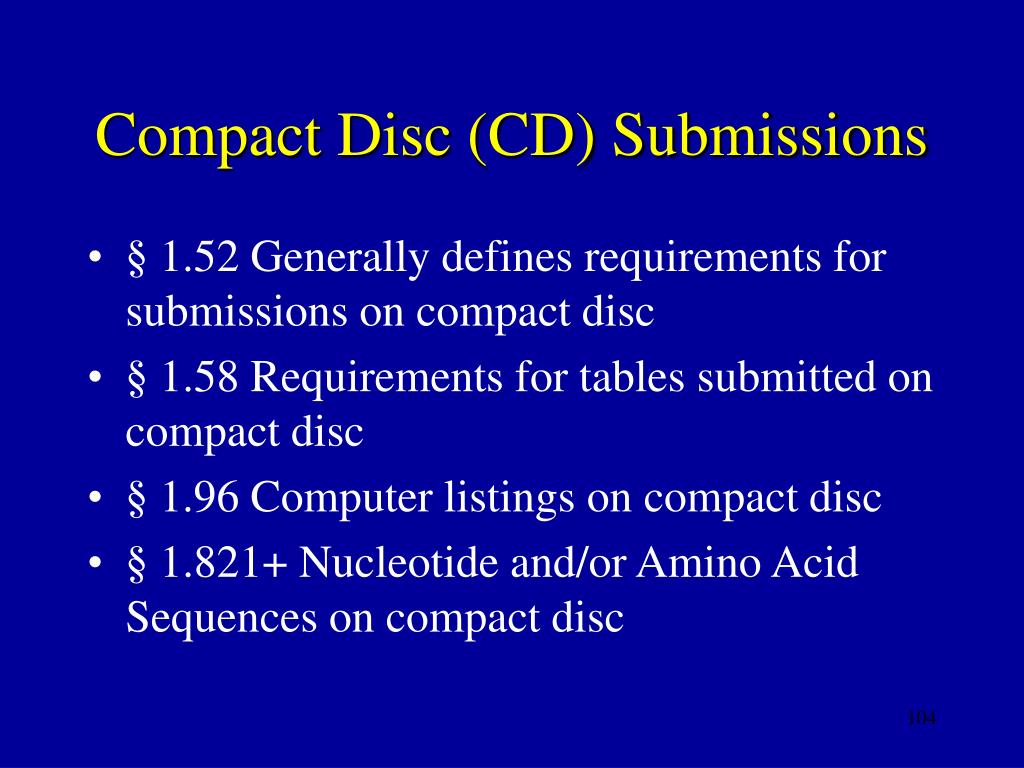 Compact Disc (CD) Submissions
