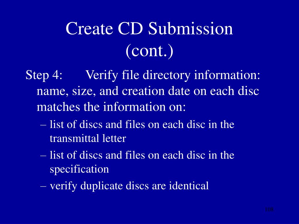 Create CD Submission