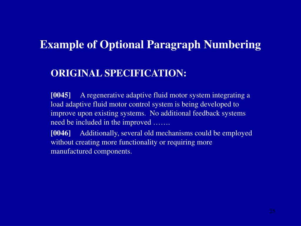 Example of Optional Paragraph Numbering