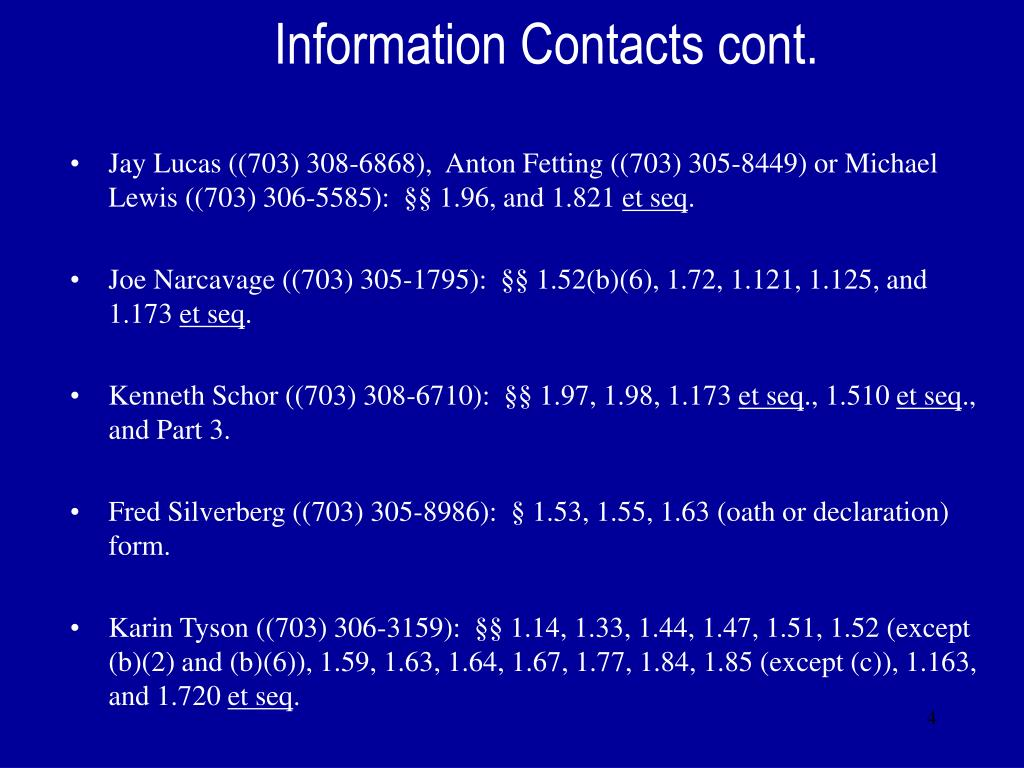 Information Contacts cont.