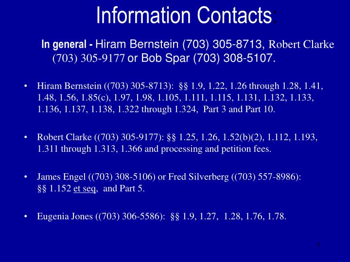 Information contacts