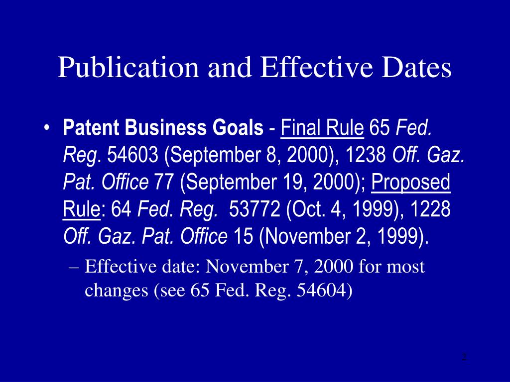 Publication and Effective Dates