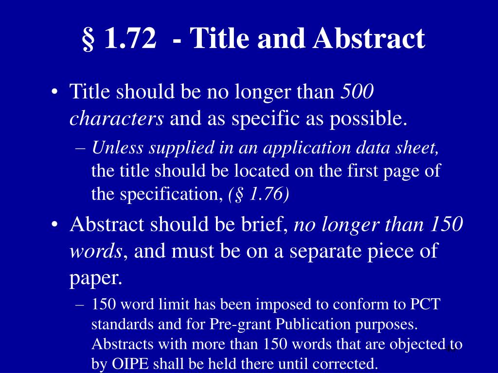 § 1.72  - Title and Abstract