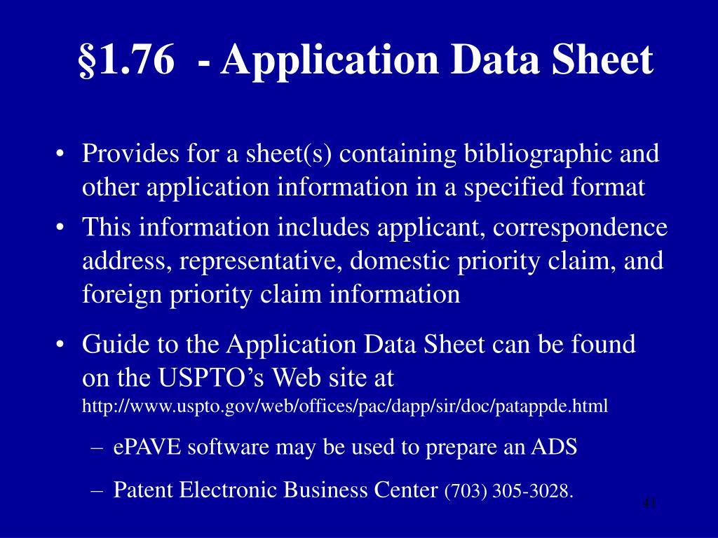 §1.76  - Application Data Sheet