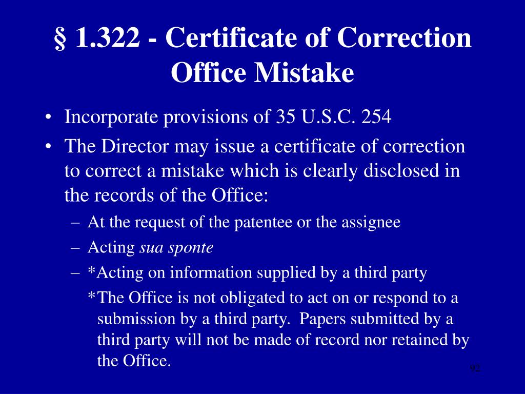 § 1.322 - Certificate of Correction Office Mistake