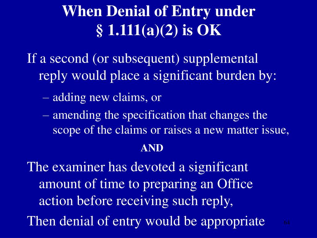 When Denial of Entry under
