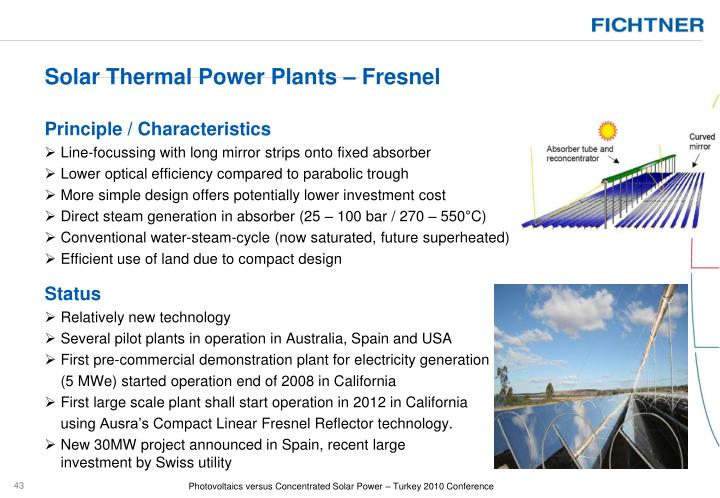 Solar Thermal Power Plants – Fresnel