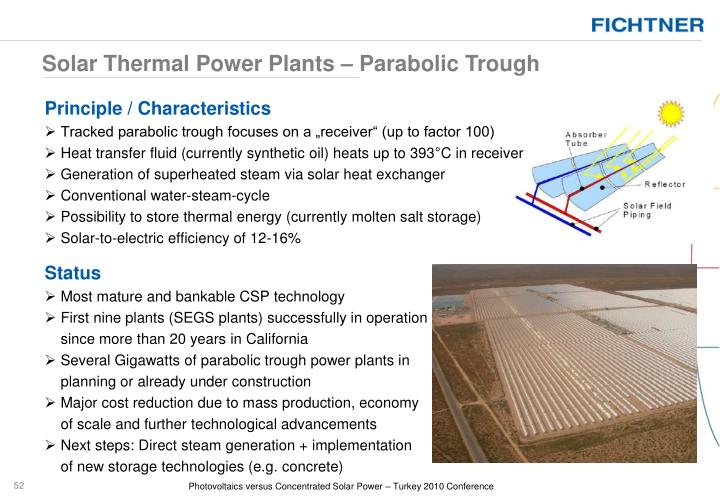 Solar Thermal Power Plants – Parabolic Trough
