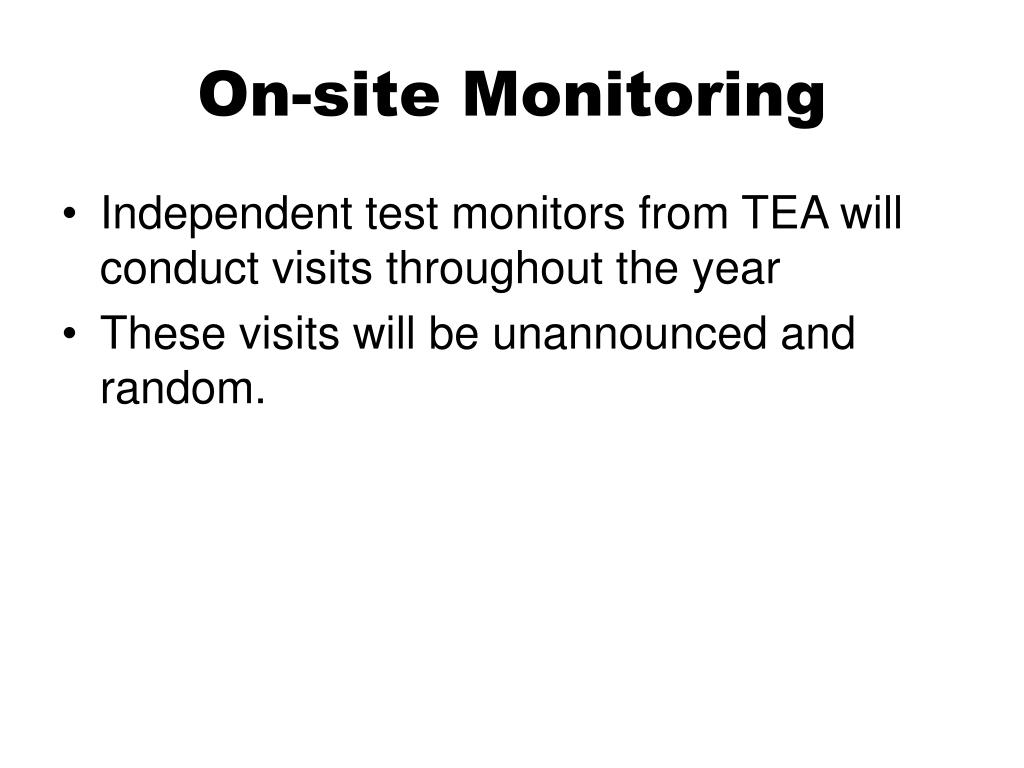 On-site Monitoring