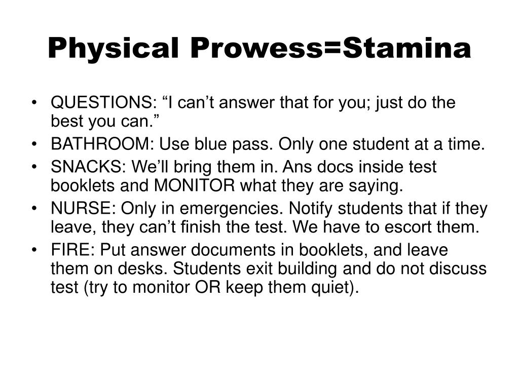 Physical Prowess=Stamina