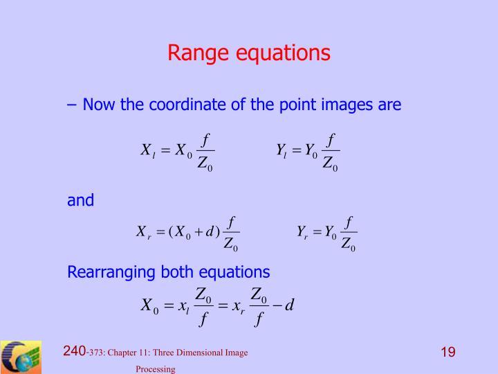 Range equations
