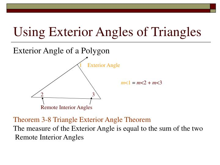 Using Exterior Angles of Triangles