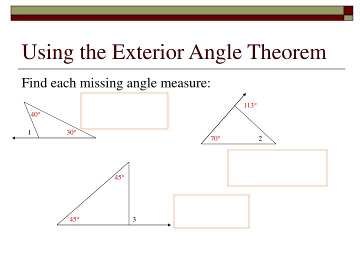 Using the Exterior Angle Theorem