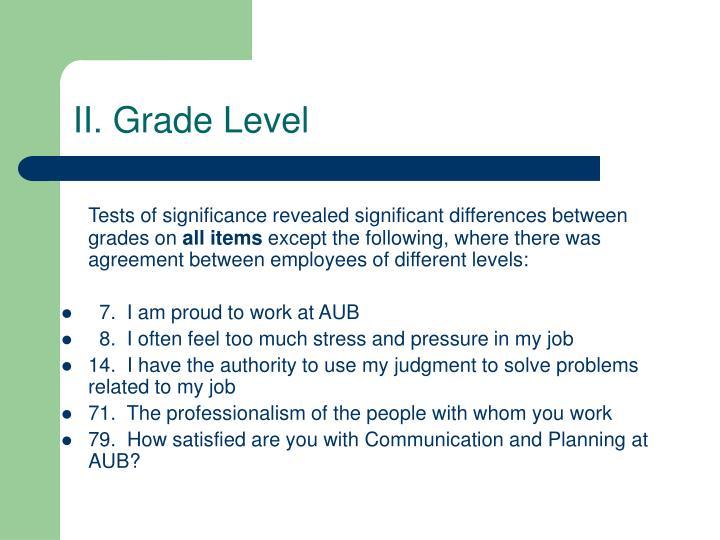 II. Grade Level