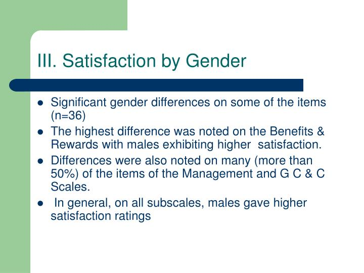 III. Satisfaction by Gender